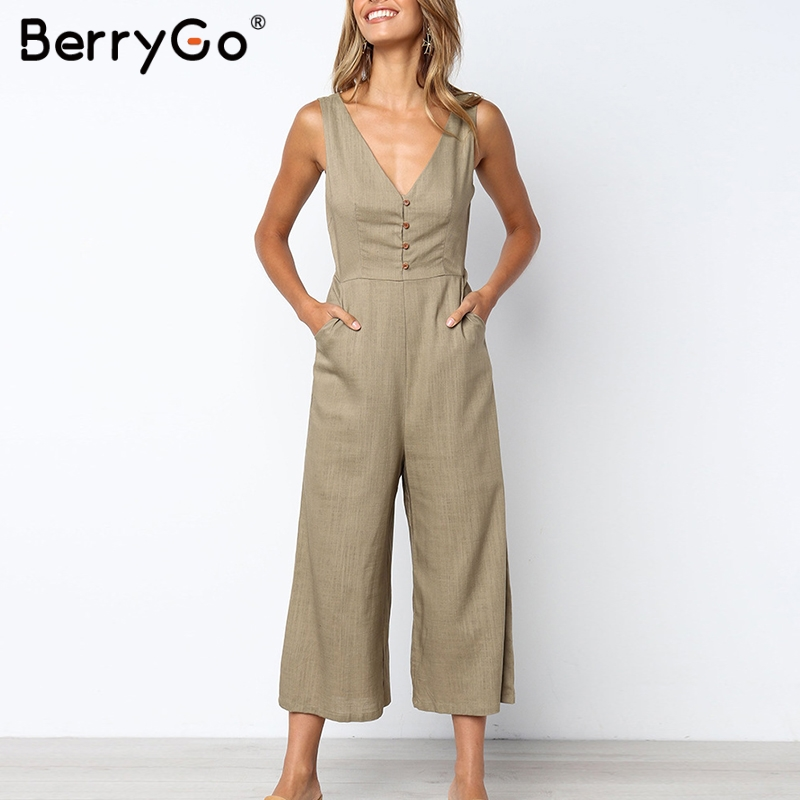 BerryGo linen   jumpsuit   women rompers   jumpsuit   Solid v neck buttons plus size overalls Straight female holiday   jumpsuits   2019