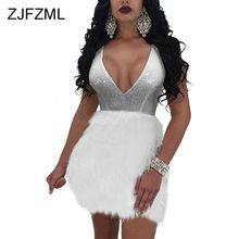 ZJFZML Sequins Dress Women Summer Sexy Backless Feather Embellished Mini Dress Evening Party V Neck Ball Gown Women Robe faux feather embellished solid tee