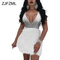 Zjfzmlスパンコールドレス女性夏セクシーな背中の開いた羽修飾語ミニドレスイブニングパーティーvネックボールガウン女性ローブ
