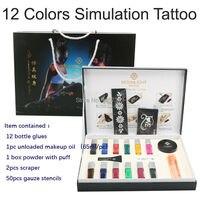 Бесплатная доставка 12 цветов Временные татуировки Средства ухода за кожей Книги по искусству конденсации жидкость комплект 12 видов цветов