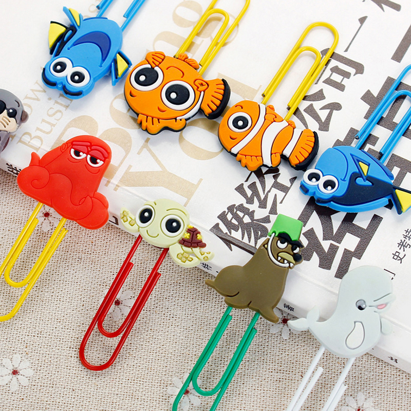 1pcs Cartoon Fish Paper Clip Silicone Material Escolar Bookmarks For Books Stationery School Supplies Papelaria Child Gift
