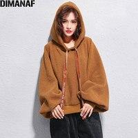 DIMANAF Plus Size 2017 Women Hoodies Sweatshirts Cotton Thickening Solid Winter Lantern Loose Fashion Casual Short