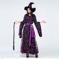 New Purple Witch Halloween Witch Stage Game Show Purple Star Moon Printed Witch Dress Hat /Black Dress/Muslin Dress/Belt/Moon Ac