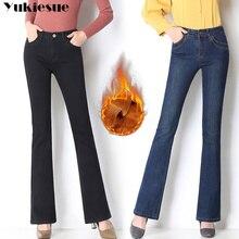 Зимние теплые флисовые широкие джинсы для женщин с высокой талией, обтягивающие офисные джинсы для женщин, расклешенные джинсы для мам размера плюс, mujer