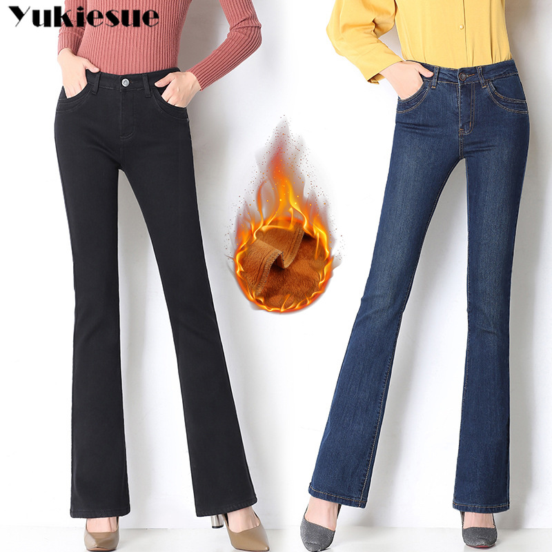 winter warm fleece Wide leg   jeans   woman with high waist skinny OL office denim   jeans   for women flare mom   jeans   plus size mujer