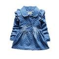 2016 Autumn Girls Outerwear Dot Girls Denim Jacket High Quality  Long Turn Down Collar Girls Jeans Jackets Kids Children Jackets
