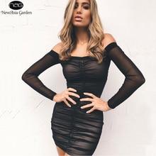 В NewAsia сад сексуальное летнее платье с плеча Bodycon платье сетка Для женщин клуба вечерние платье с длинным рукавом Ruched платья мини Vestido