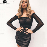 NewAsia Garden Strapless Off Shoulder Long Sleeve Lift Up Drawstring Ruched Pleated Mesh Women Bodycon Club