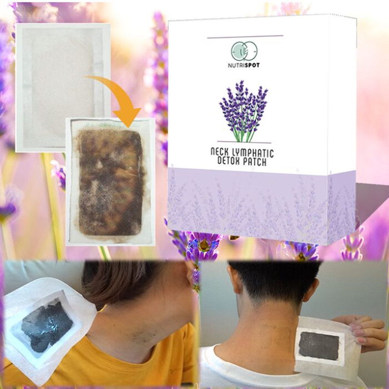 10 patches/Box Nutrispot Neck Lymphatic Detox Patch Anti-Swelling Herbal LymphPads Detox Foot Patches Pads To Improve Sleep(China)