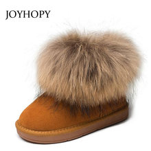 Genuine leather Children Boots Big fur Thick Warm Shoes Baby Girls Boys Snow Boots Winter Kids Shoes(China)