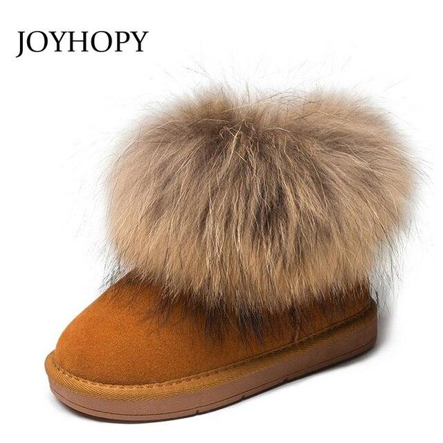 fff0bef70626e Véritable cuir enfants bottes grande fourrure épaisse chaude chaussures bébé  filles garçons neige bottes hiver enfants