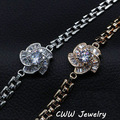 New Fashion Geometric Shape White Gold Plated Sparkling CZ Diamond Flower Bracelets For Women Jewelry Christmas Gifts (CB094)