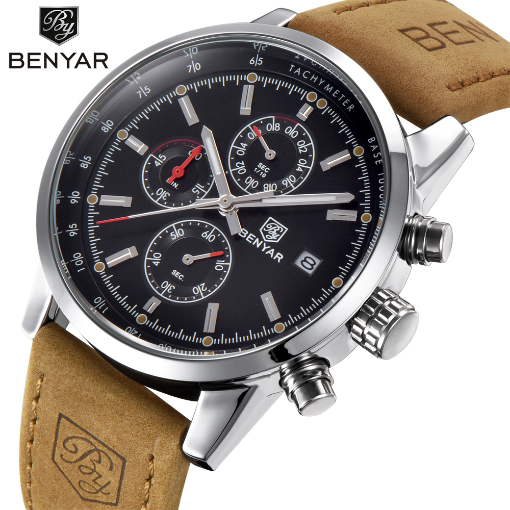 BENYAR Fashion Chronograph Sport Mens Watches Top Brand Luxury Quartz Watch Reloj Hombre 2017 Clock Male hour relogio Masculino olevs fashion mens sport watches auto date rose gold leather quartz watch reloj hombre 2017 male clock hour relogio masculino