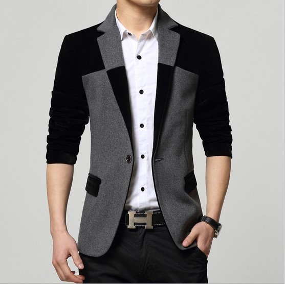 Aliexpress.com : Buy Mens Velvet Patchwork Blazer Slim Fit Suit ...