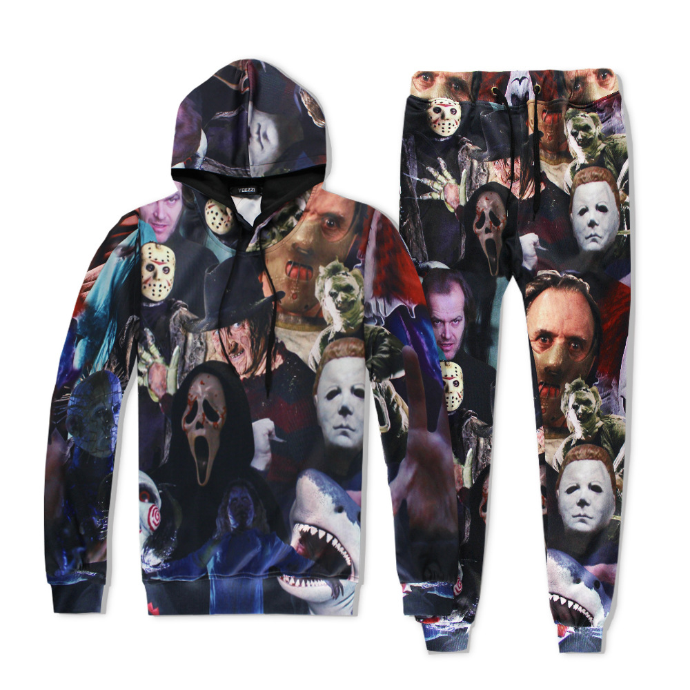 Movie jigsaw Saw costume Halloween 3D Printed Sweatshirt Cardigan Sweater Leigh Whannell Cosplay Cartoon hooded Jackets Pants