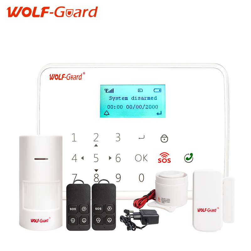 WOLF-Guard 433mhz wireless Intelligent Android IOS app remote control SOS button household burglar GSM Alarm Security System