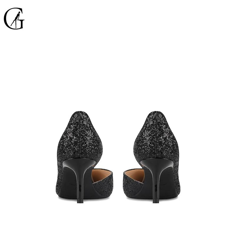 Tacones Bombas Heel Gratis Tamaño on Goxeou Mano Sexy 46 Fino Slip Mujeres Boda 6cm Tacón A Oficina 32 Black Hecho 2018 Puntiagudos Envío Bling q88gEwCp
