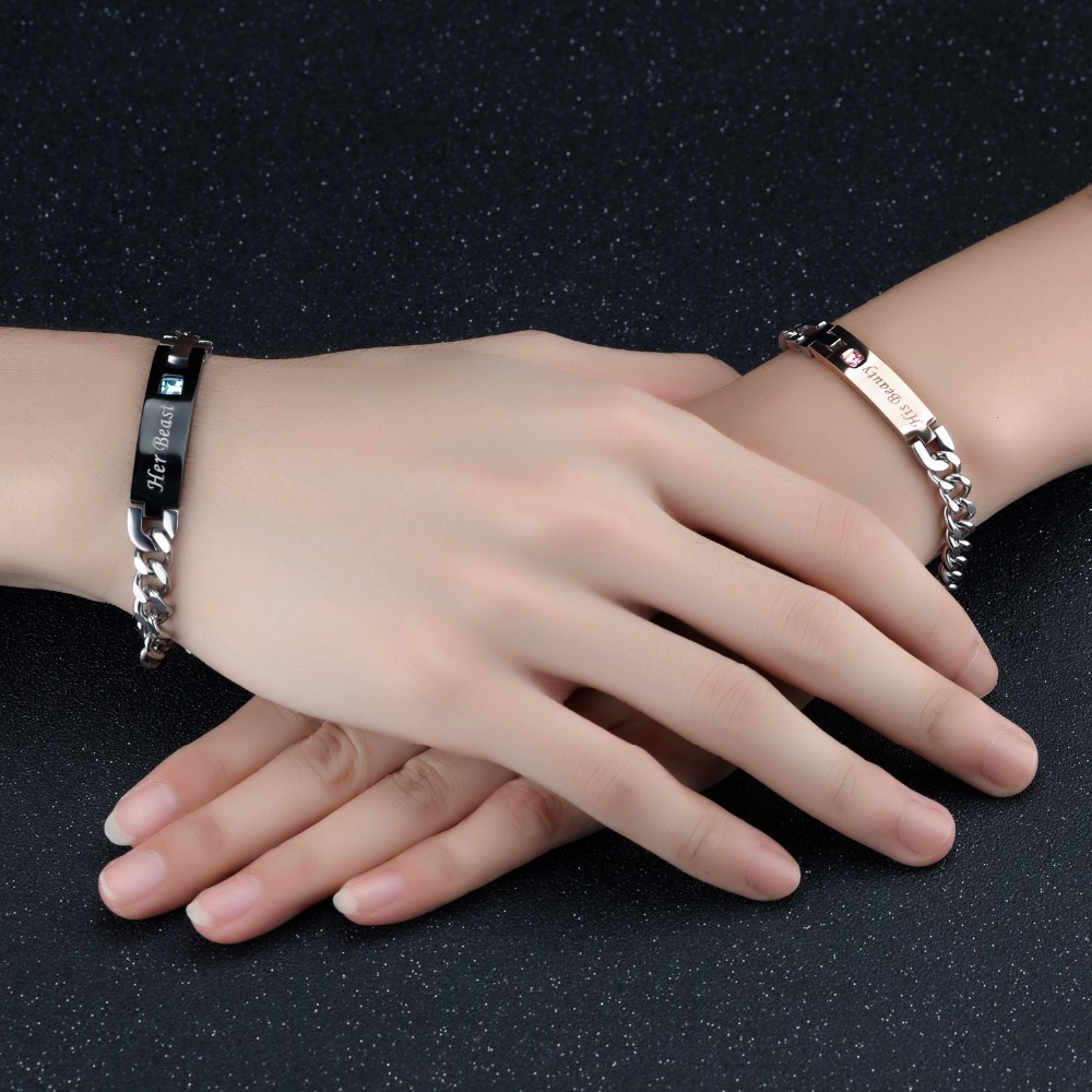 Romantic LOVE ID Bracelet For Lovers Laser Customized Engrave Name ...