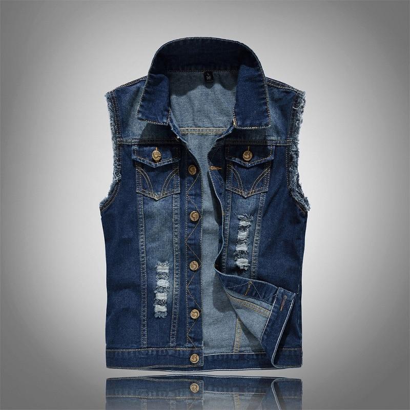 Uomo Strappato Denim Gilet Giacca Slim Jeans Giacca Senza Maniche Cappotti Giacca