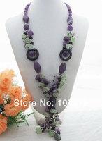 Purple Crystal&Onyx Necklace