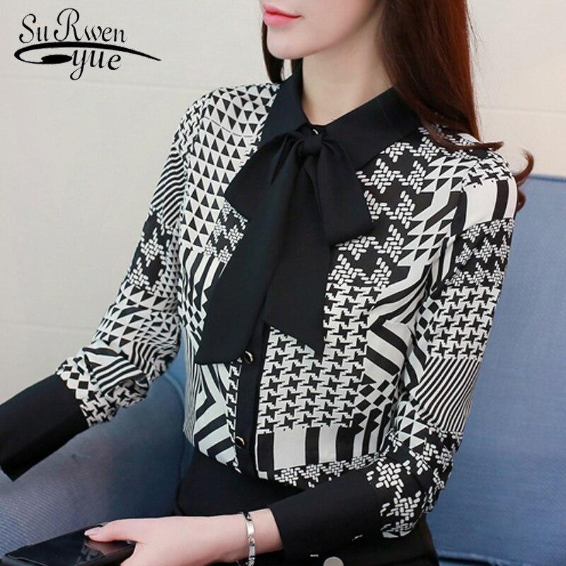 Fashion chiffon women   blouse     shirt   long sleeve feminine tops print chiffon   blouse   womenshirt blusa feminina OL   blouse   0475 40