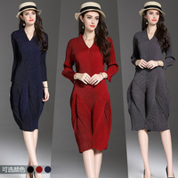 2018 Europe Station Spring Dress Fashion V Lead Long Sleeve Lantern Skirt Solid Color Three House Suit-dress Designer Sexy