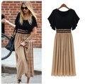 2016 Spring Summer New Women Fashion Chiffon Pleated Dress Sexy Slim Casual Dresses
