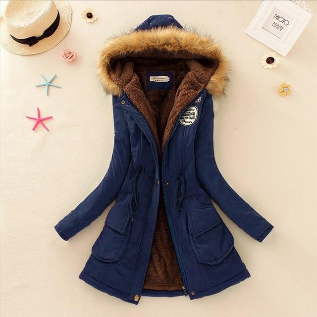 Winter Fashion Pockets Long Sleeve Women Coats Jackets 2016 Autumn Warmth Hooded Collar Long Parkas Size S-XXXL