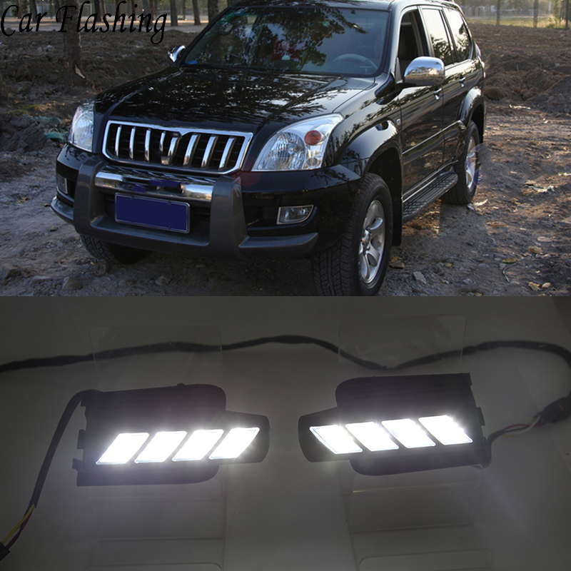 Car Flashing 2Pcs DRL For Toyota Prado 120 Land cruiser LC120 FJ120 2003 2004 2005 2006