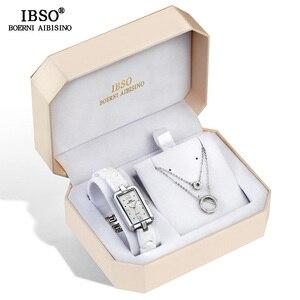 Image 4 - IBSO Merk vrouwen Horloge Set Mode Oorbel Ketting Horloge Set Vrouwelijke Sieraden Set Mode Creatieve Quartz Horloge vrouw gift