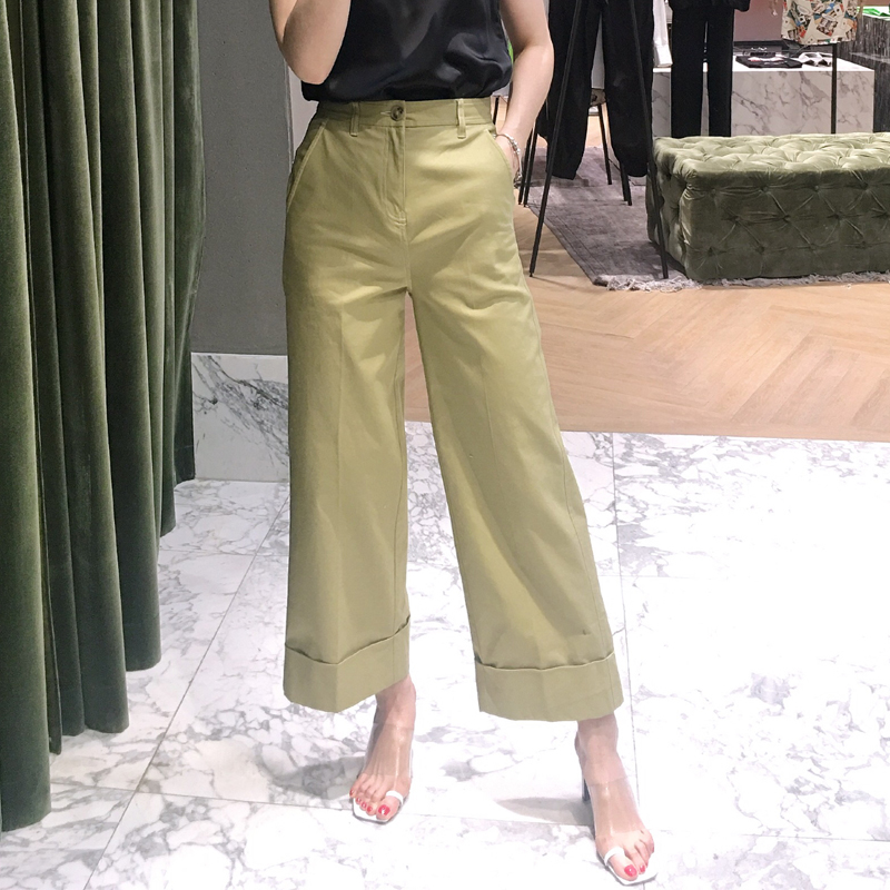 2019 Autumn women 39 s high waist casual pants Chic wide leg pants A616 in Pants amp Capris from Women 39 s Clothing