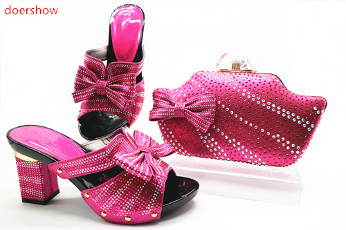doershow fuchsia Shoe and Bag To Match 2018 Italian African Wedding Shoe and Bag Set Matching Shoes and Bag Set for Party TN1-32 doershow italian design matching shoe and bag set african party shoe and bag set for wedding shoes ladies shoes and bag ym1 12