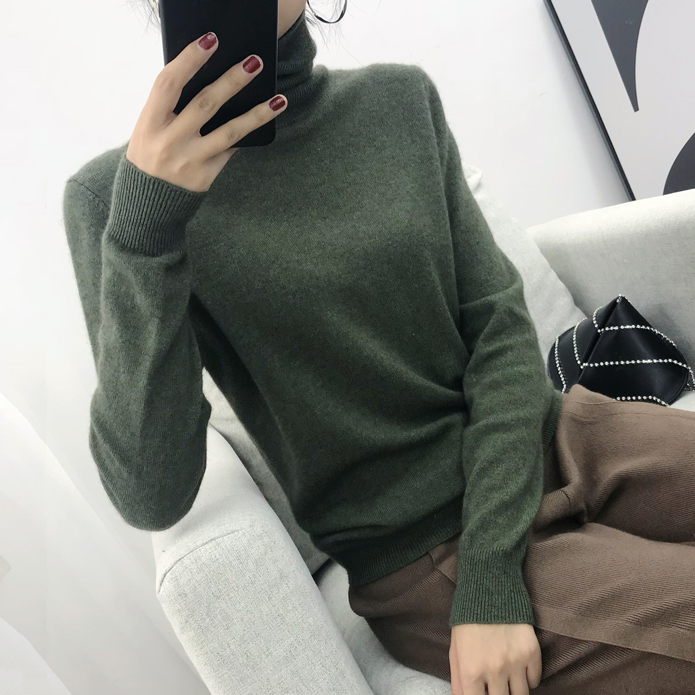 2019 Cashmere Sweater Women Turtleneck Women's Knitted Turtleneck Winter Cashmere Sweater For Women Warm Sweaters Female