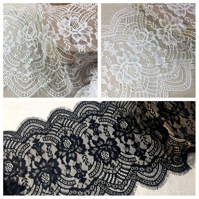 c57d4fa3e5521 US $11.4 5% OFF|3 Meters Quality and soft baby lace fabric trim 41cm width!  2019 NEW scallop trimming border lace eyelash french lace for dress-in ...