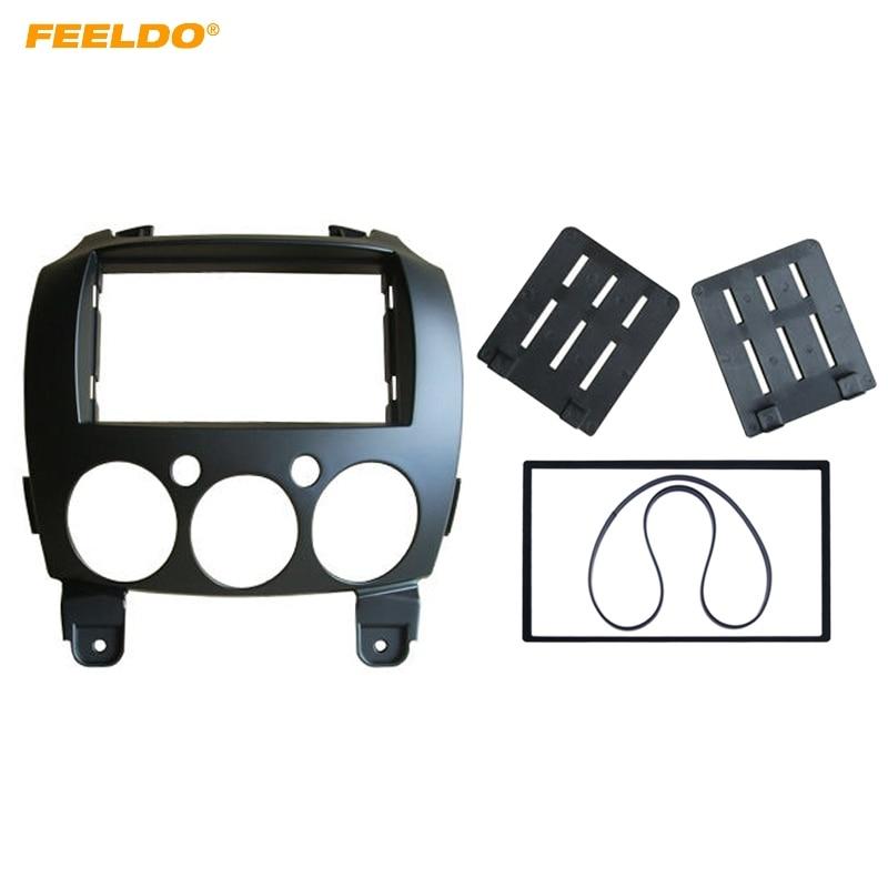цена на LEEWA Car 2 Din Refitting Frame Panel for Mazda 2 2010 Demio 2007+ Stereo Radio Fascia Dash Mounting Trim Kit Face Frame #5002