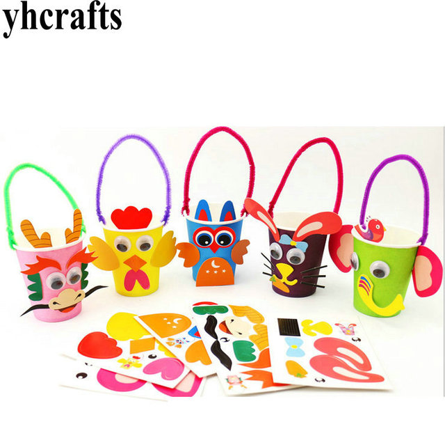 5pcs Lot 5 Design Choose Diy Animal Paper Cup Craft Kits Early