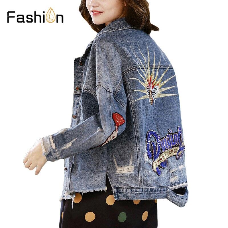 Women Denim   Jackets   Fashion Embroidery Short Coat Ladies Design   Basic     Jacket   Boyfriend Spring Summer Hole Jeans Coats Harajuku