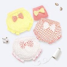 Нижнее белье для малышей от 0 до 3 лет штаны для маленьких девочек шорты в полоску для маленьких мальчиков детские штаны в полоску с бантом для новорожденных