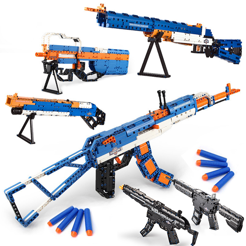 Emission Compatible legoings GUN AK47 M4A1 technic Model Building kits military Arms Sets bullets Weapon boy