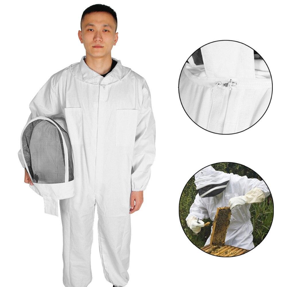 Katoen Full Body Bijenteelt Beschermende Kleding Pak Met Sluier Hood Hat bijenteelt Pak Imkers Apparatuur-in Beschermende Keding van Huis & Tuin op  Groep 1