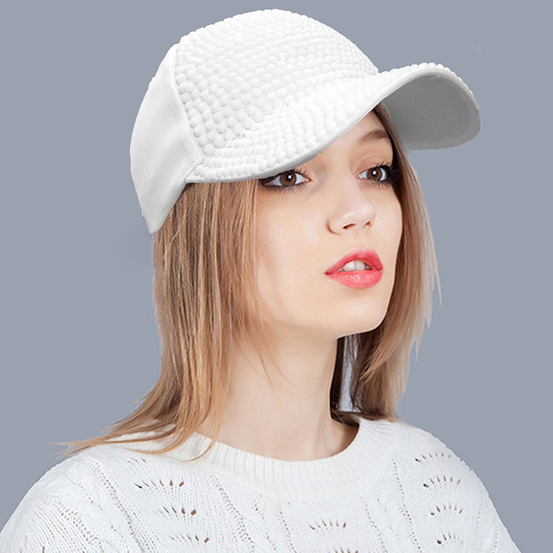 White Fashion Women'S Rhinestone Hats Luxury Female Baseball Cap Bling Diamond Cap Swag Casquette Girl Snap Back Gorras 1