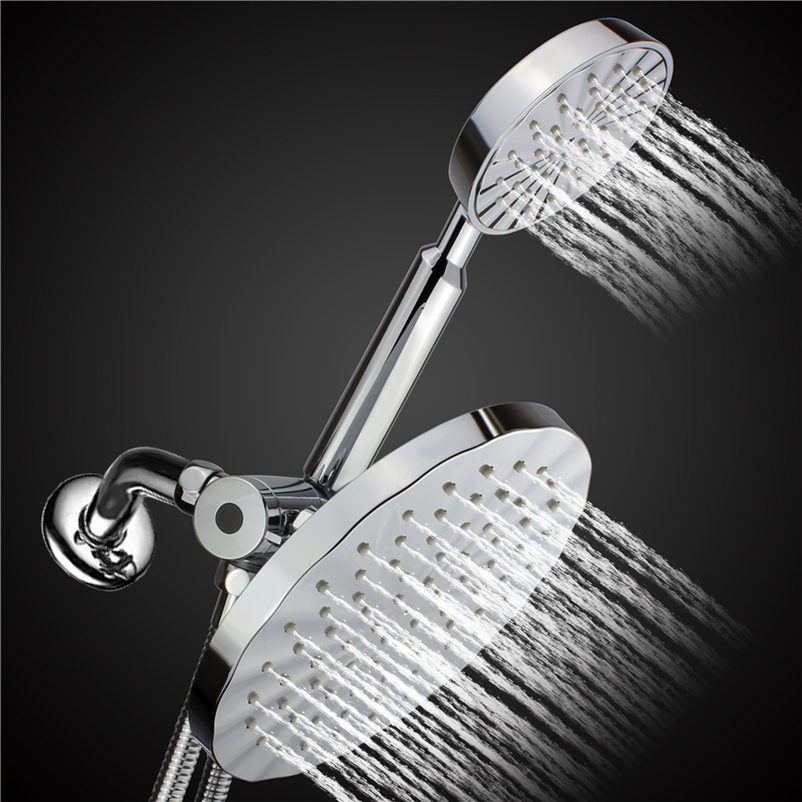 Round Rainfall / Handheld Shower Head Set Combo Chrome Finished +stainless  Steel Shower Hose+ 3