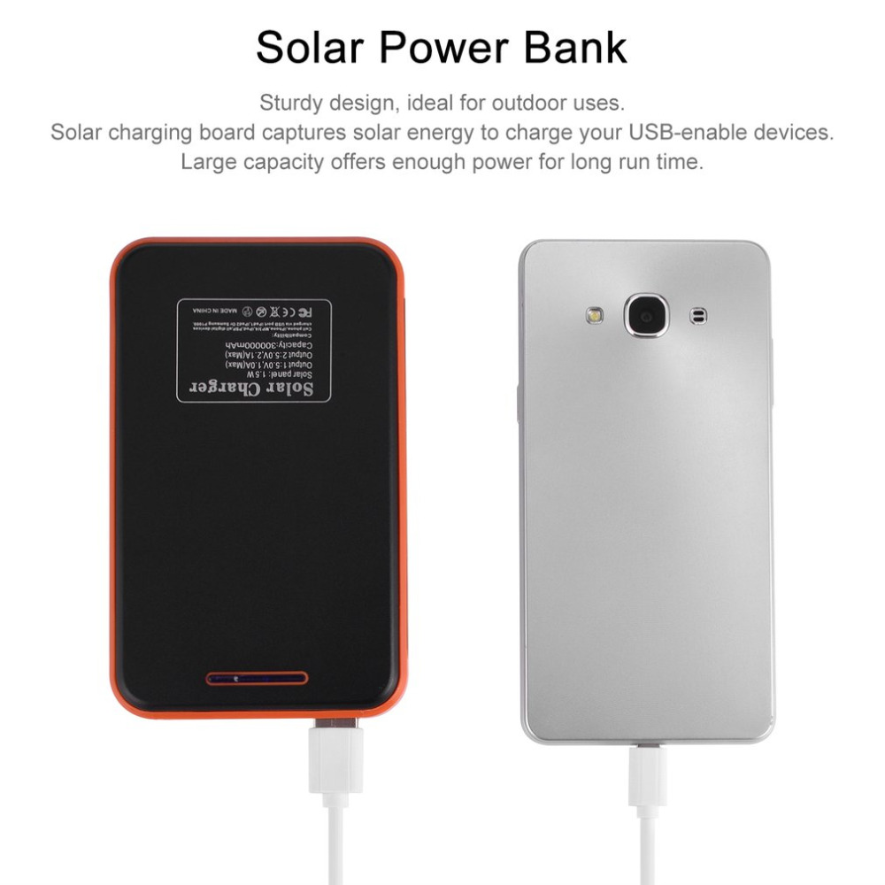 цена Solar Power bank 30000mAh Portable Waterproof Solar Charger powerbank 30000 mah Dual USB External Battery Power Bank