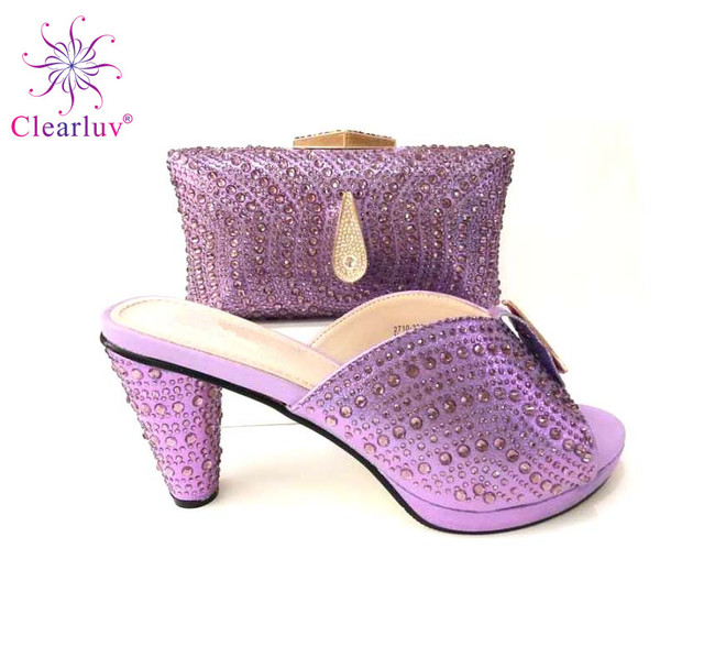Latest Design Italian Shoes with Matching Bags Set Decorated with  Rhinestone for Party In Women Shoes and Bag Set African Sets 1f0c8ab1ea9f