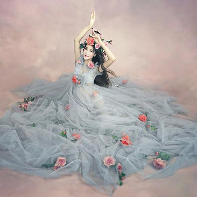 Mulheres grávidas moda maternidade fotografia adereços romântico elegante arrastando longo fairy dress sessão de fotos da gravidez chuveiro dress