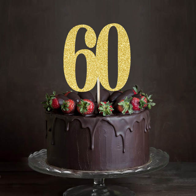 Placeholder Gold Silver Black Glitter 60 Cake TopperSixty Anniversary Decor 60th Birthday