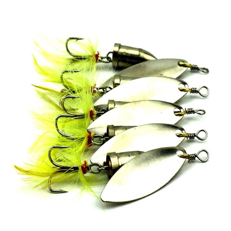 5 PCS / Lot Hot Prodej Wire Feather Bait Spinner Rybářské návnady Hard Lure 5 PCS / Lot 5cm 6g kov 6 # posílení Hooks