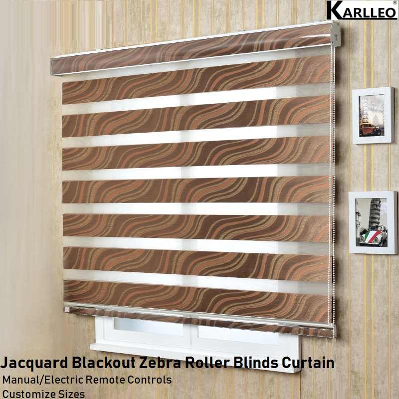 NEW Blackout Jacquard Emboss Zebra Roller Blinds Curtain (F56) Customize Size Manual or Motorize Remote Control