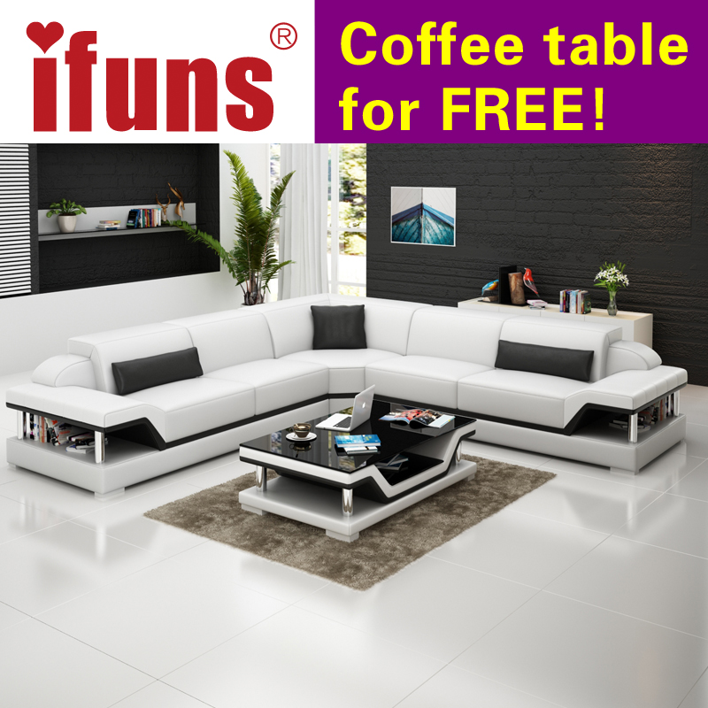 IFUNS L Shape Corner White Cow Leather Chesterfield Sofa Modern Sectional Set Living Room