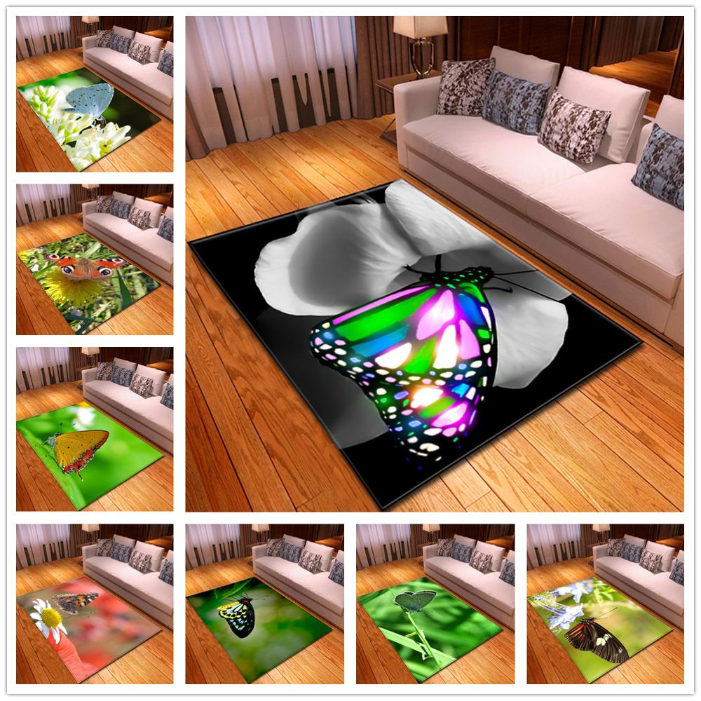 Creative Butterfly 3D Printed Carpets For Living Room Bedroom Area Rugs Soft Flannel Hallway Large Size Mats Parlor Decor Carpet